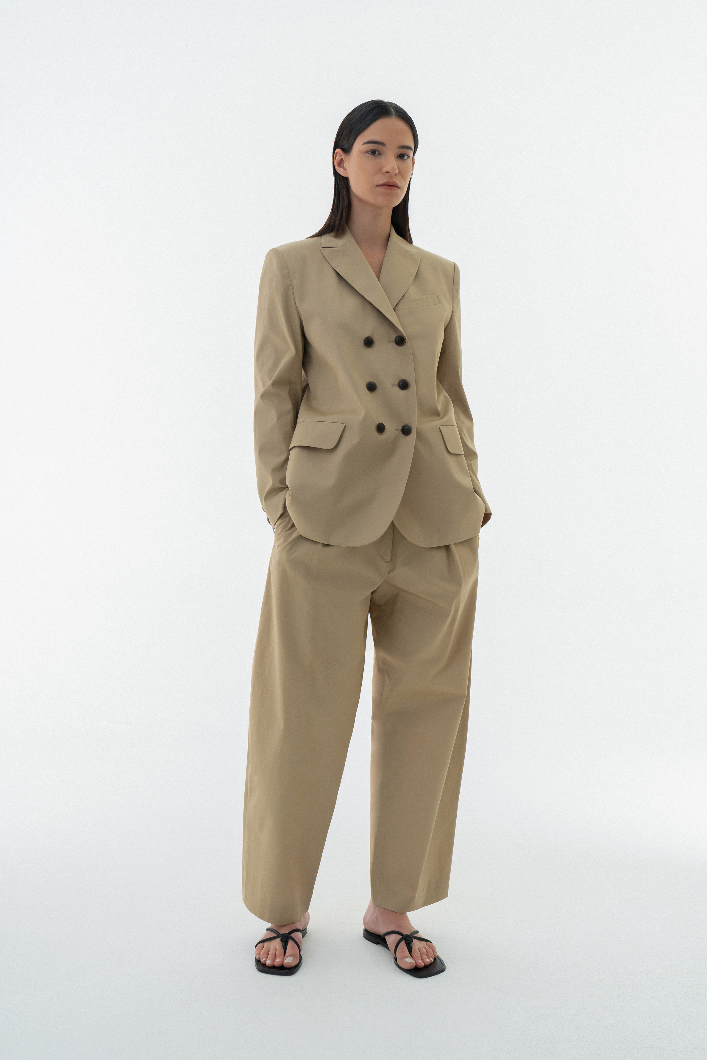 COTTON ROUND DOUBLE BLAZER BEIGE