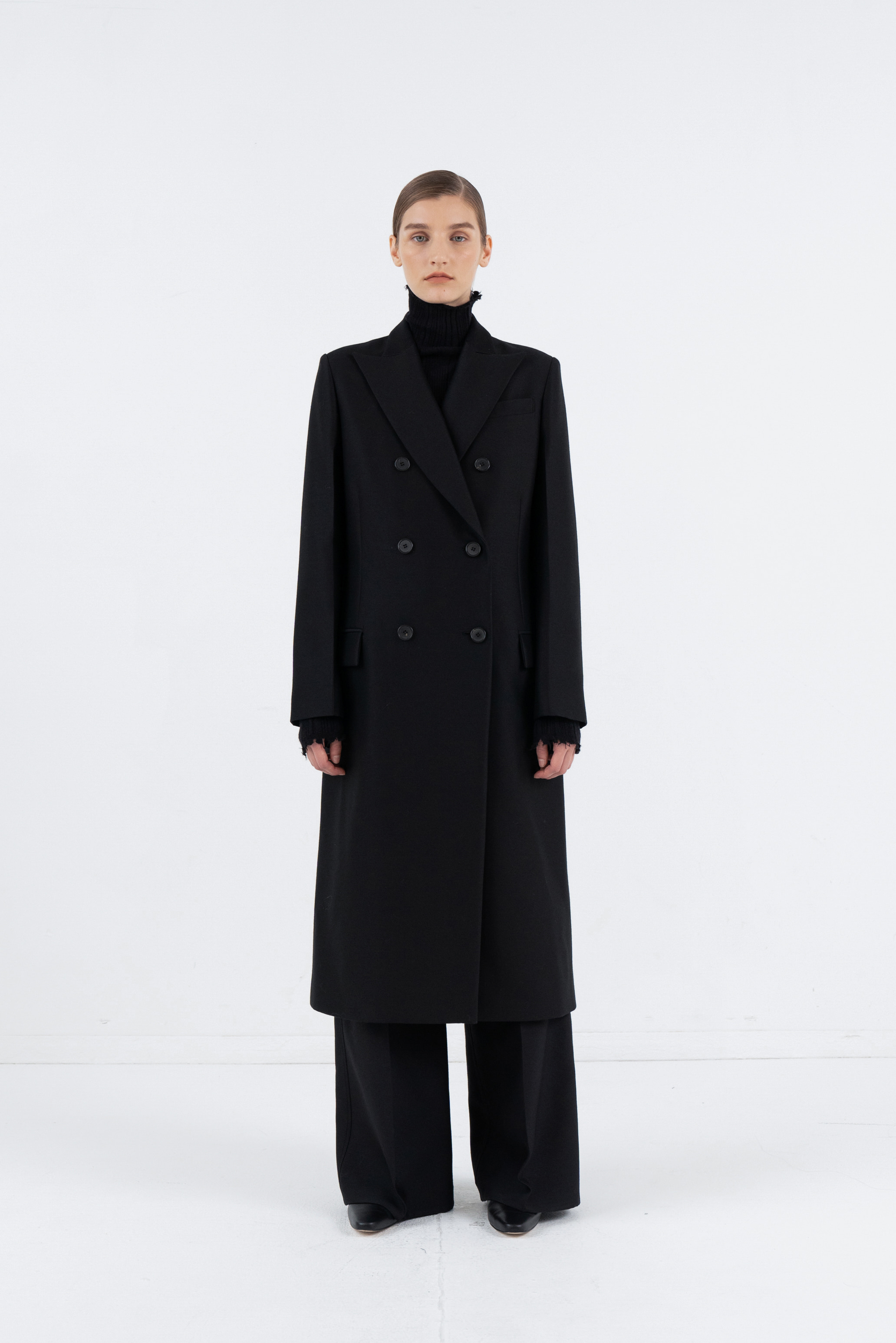 SLIM DOUBLE COAT_BLACK