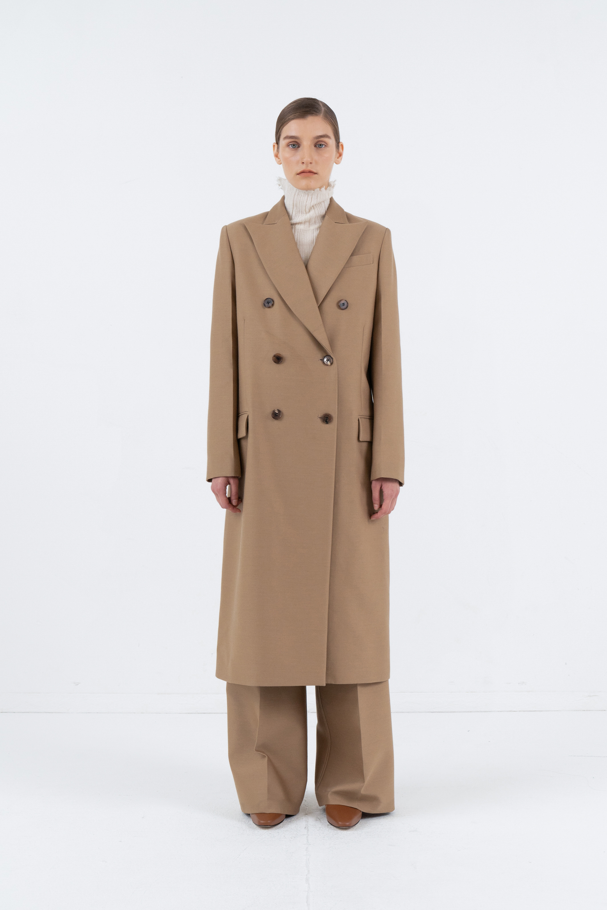 SLIM DOUBLE COAT_BEIGE
