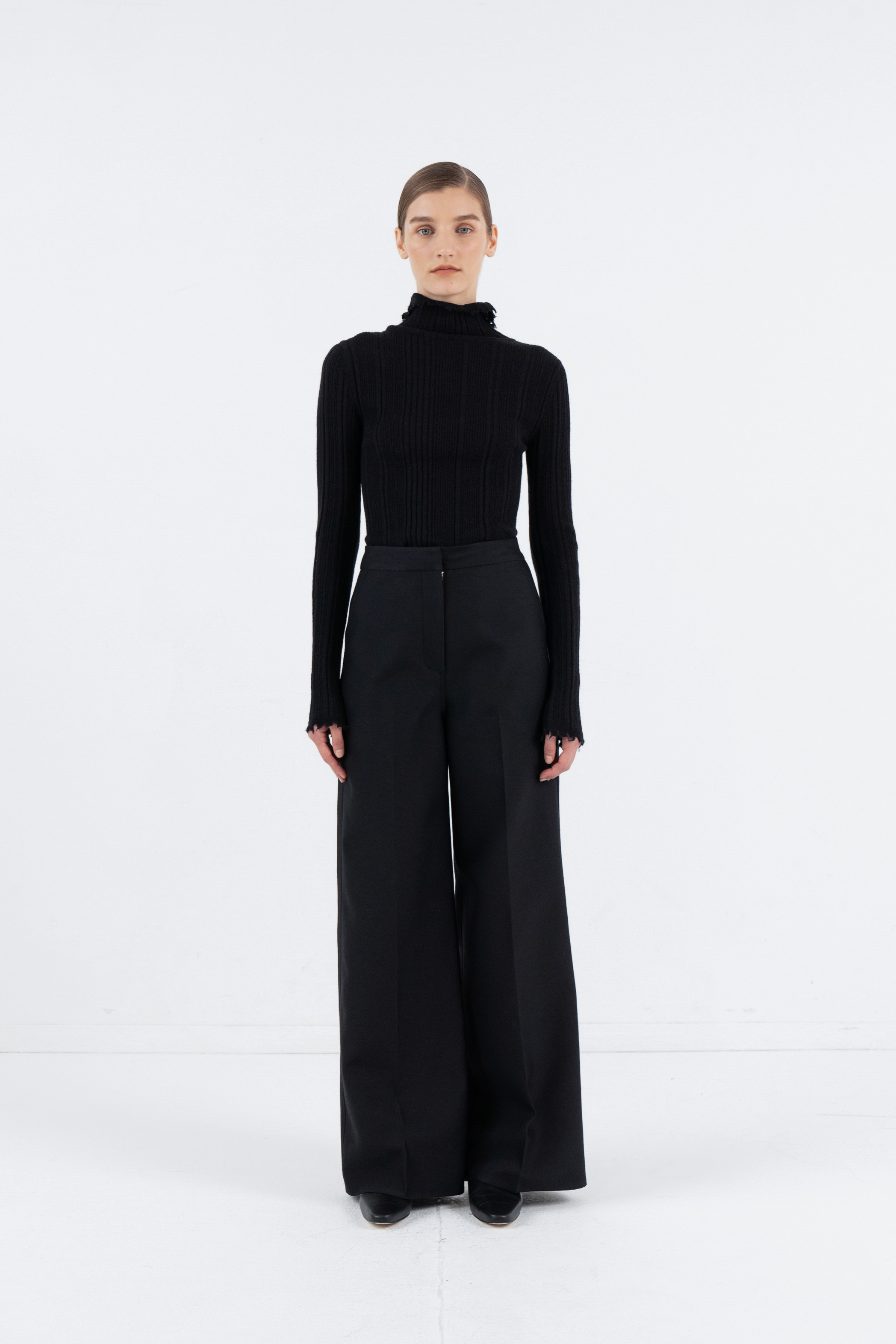 WOOL WIDE LINE PANTS_BLACK