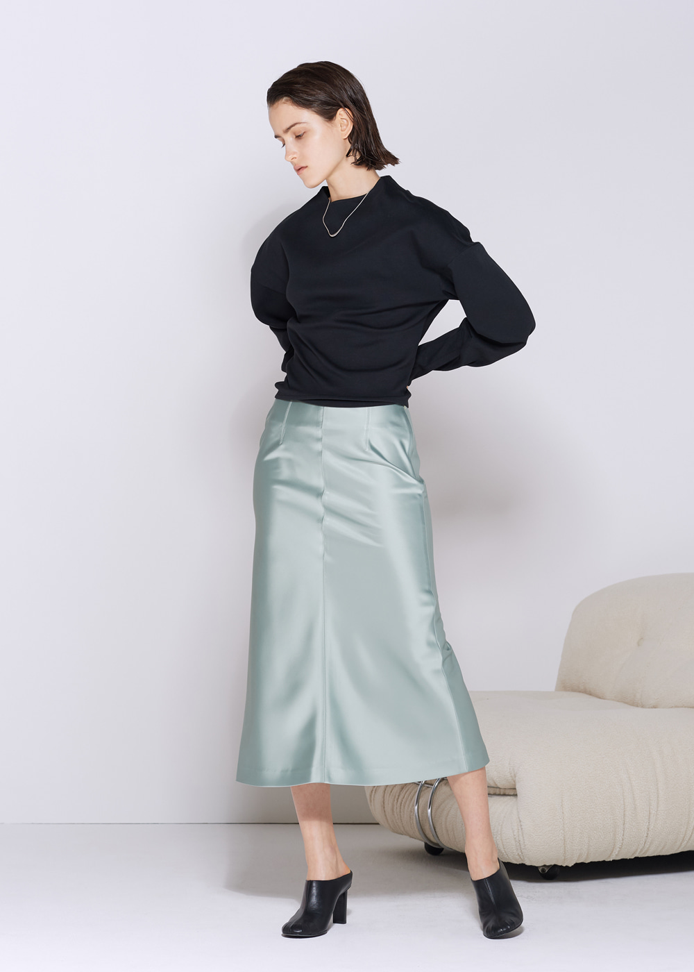 SATIN FLARE SKIRT MINT