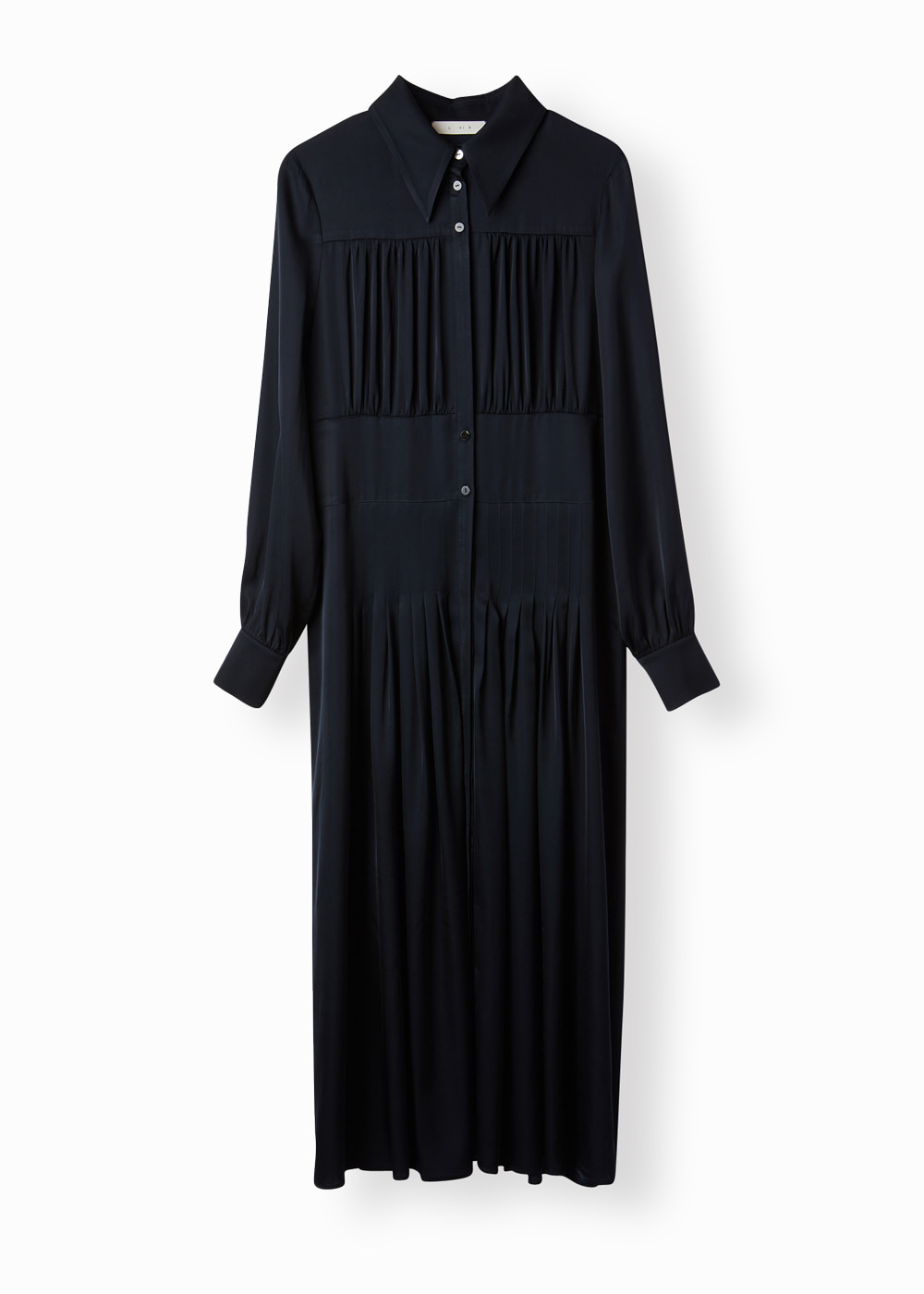 BUTTON SHIRRING DRESS BLACK