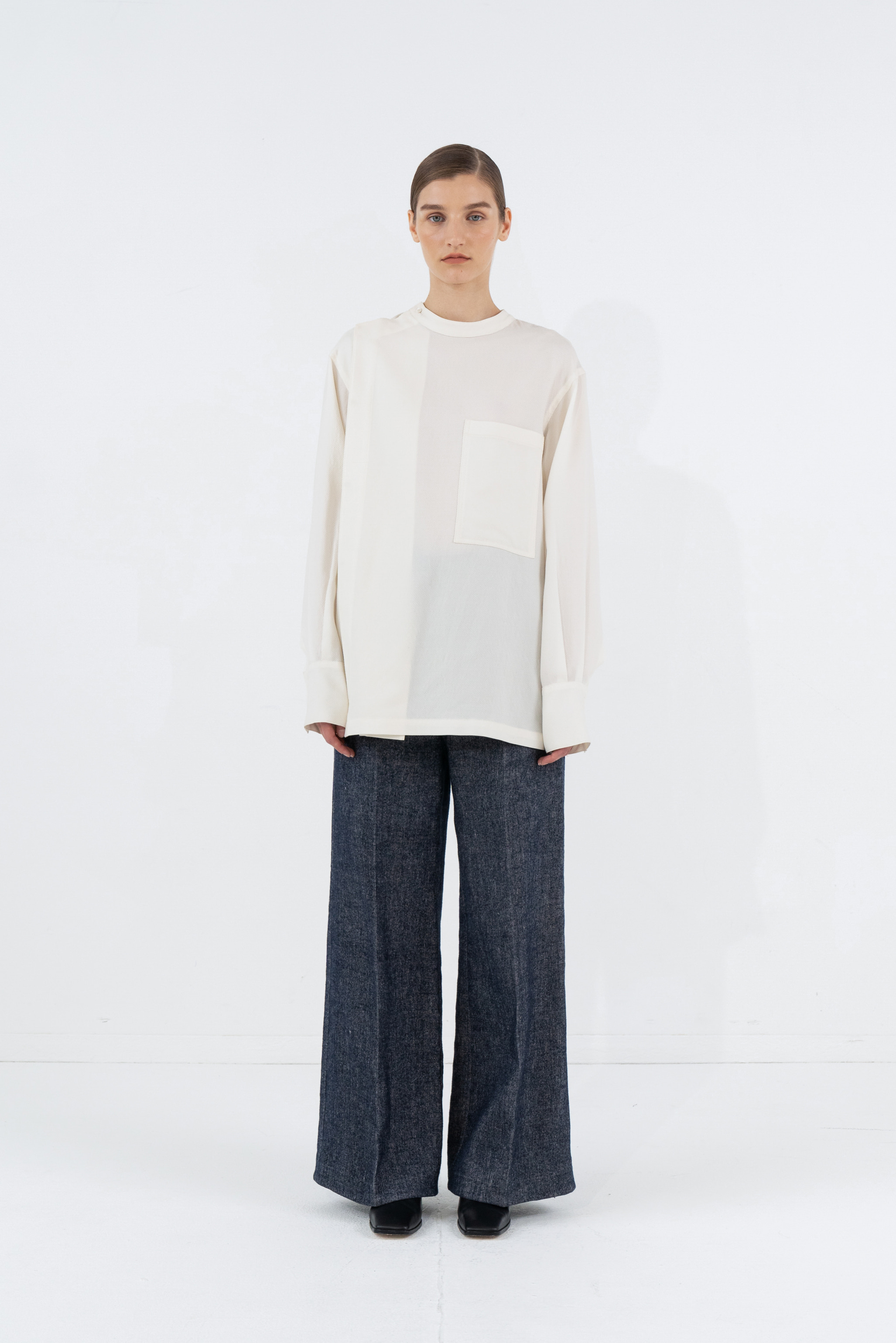 UNBALANCE CHINA-COLLAR SHIRTS_IVORY