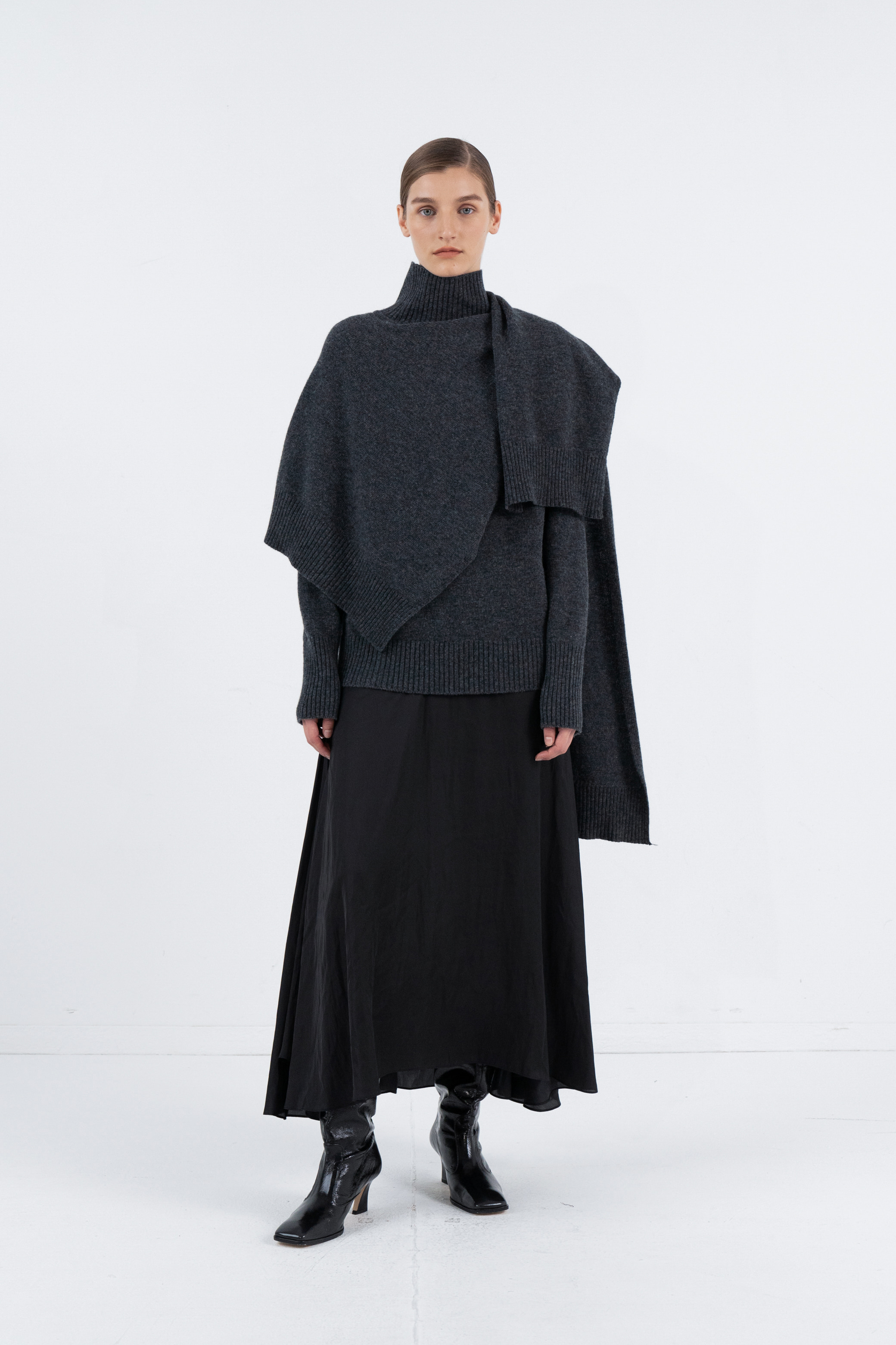 WOOL MUFFLER TURTLENECK_DARK GREY