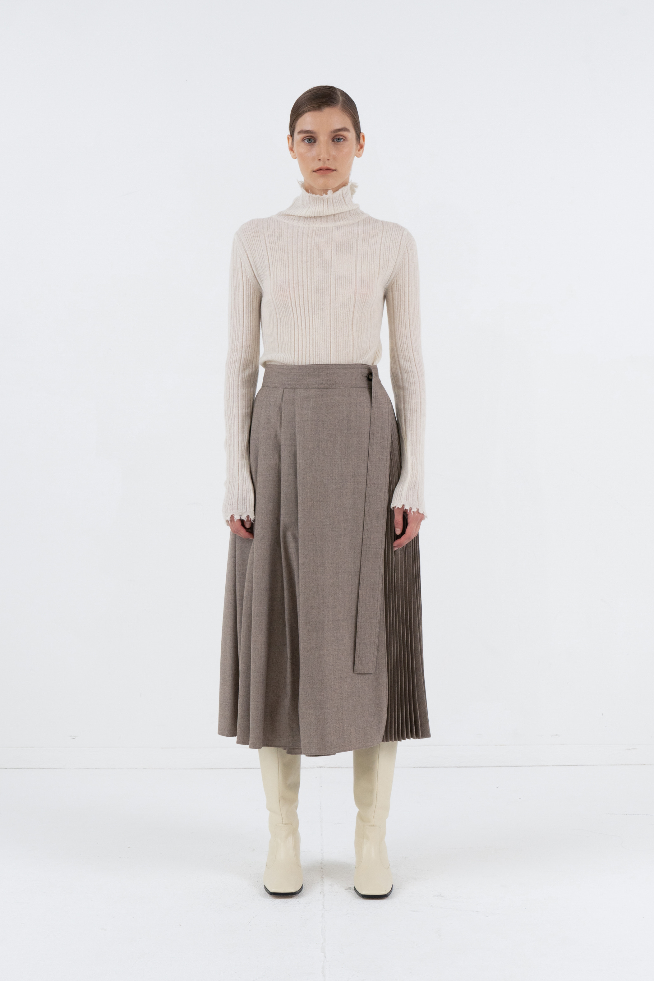 PLEATS WRAP SKIRT_MELANGE BROWN