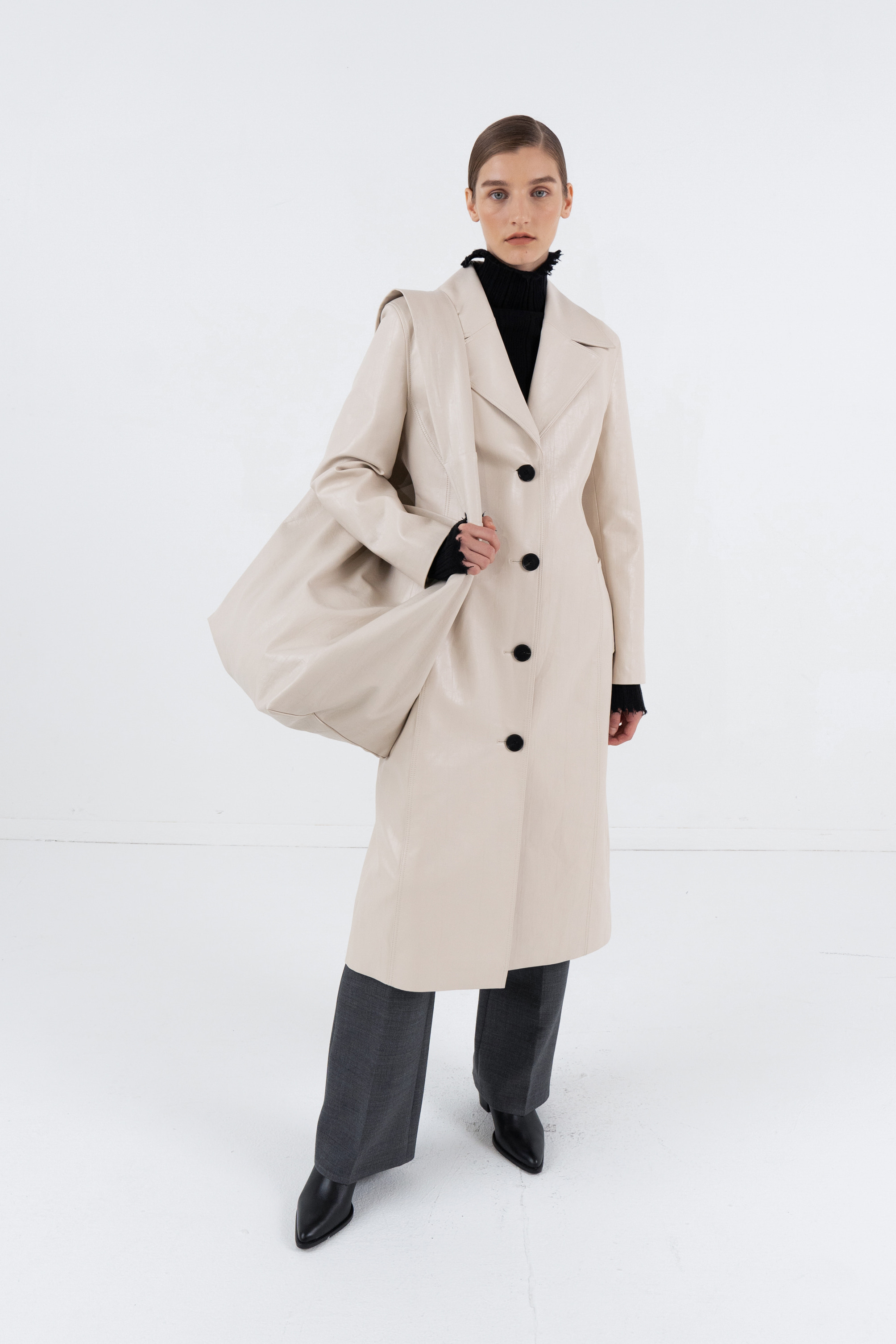 FAUX LEATHER SINGLE COAT_WINE
