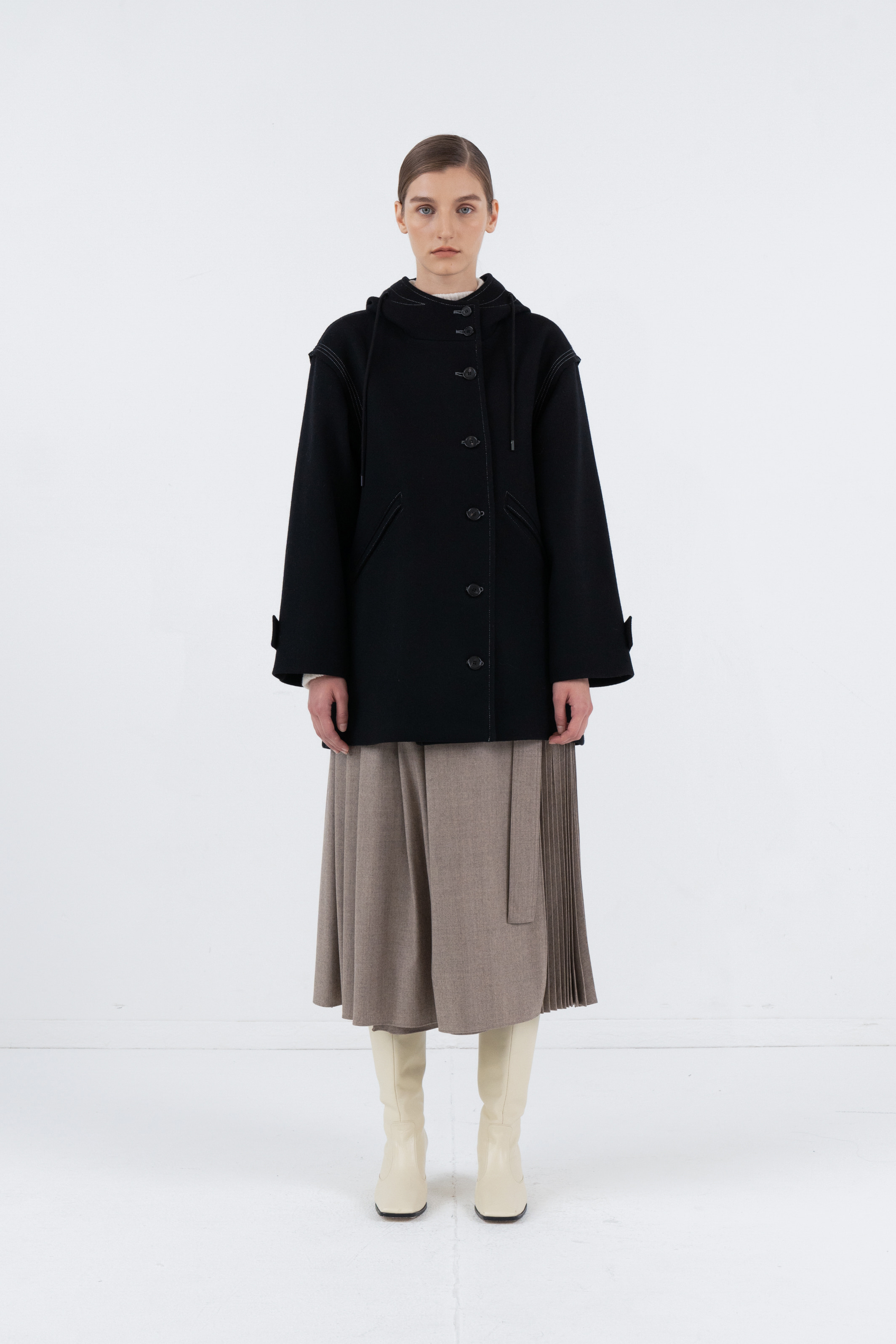 HOODY WOOL HALF COAT_BLACK
