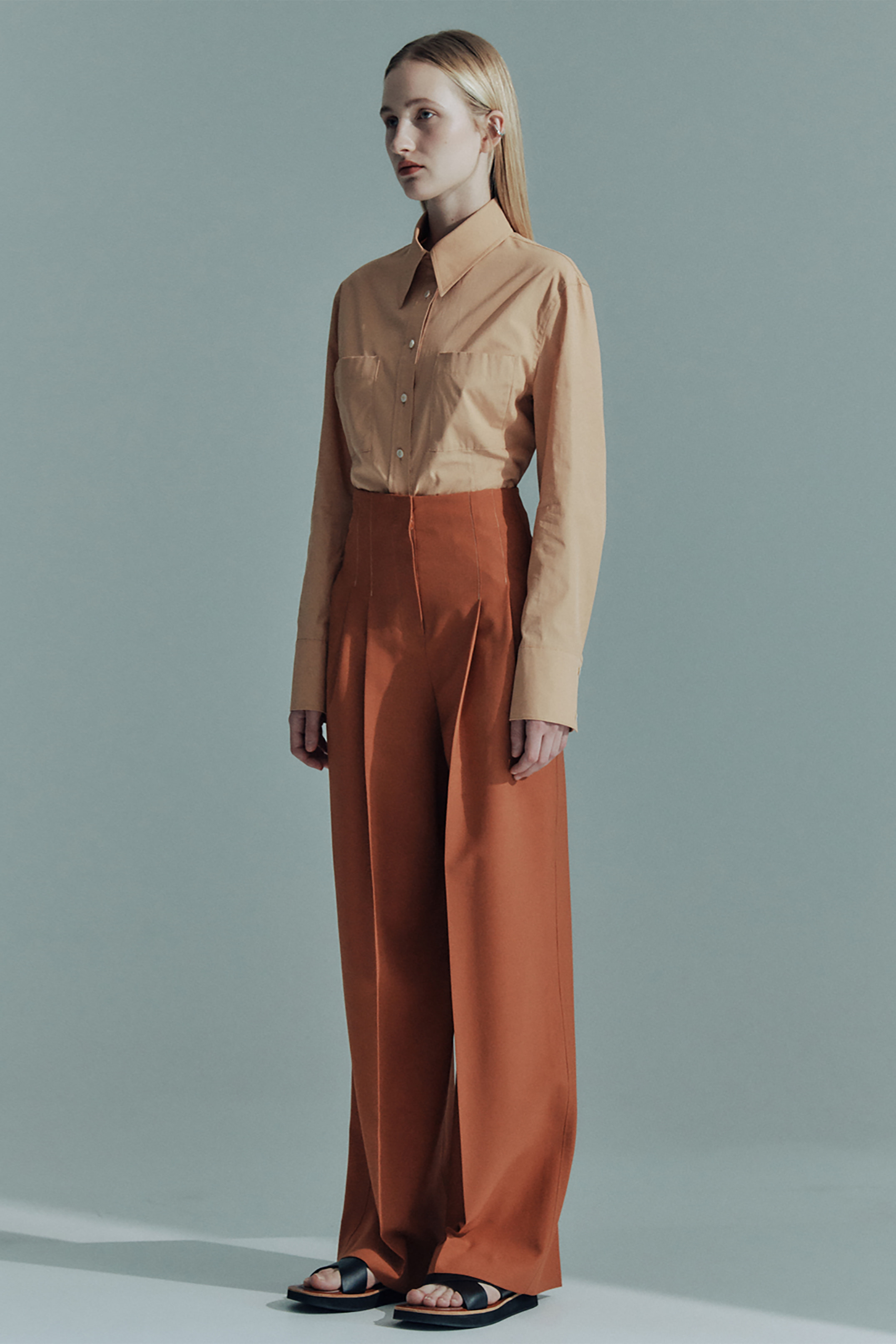WOOL CONTRAST STITCH WIDE PANTS_ORANGE