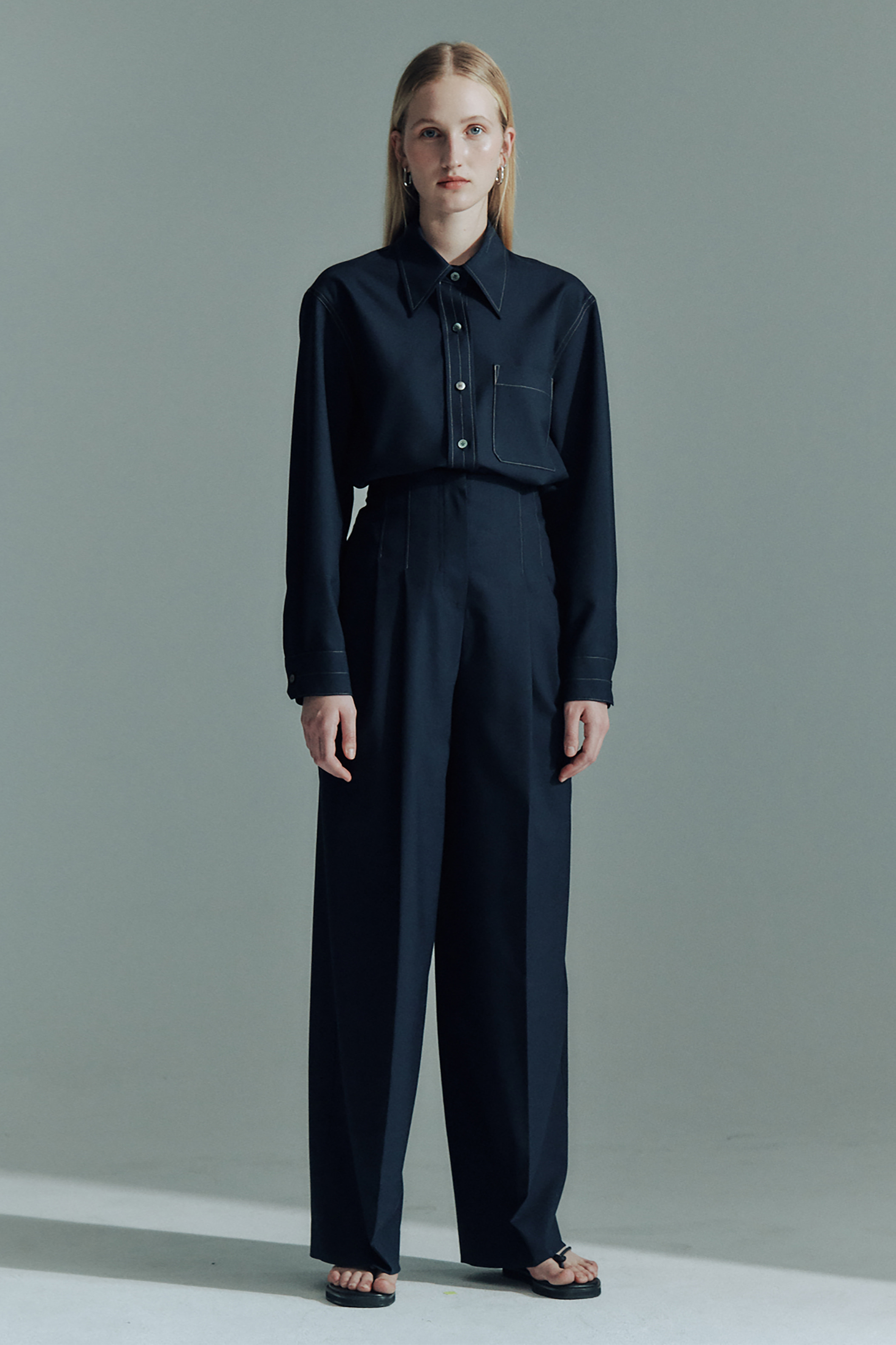 WOOL CONTRAST STITCH WIDE PANTS_DARK NAVY