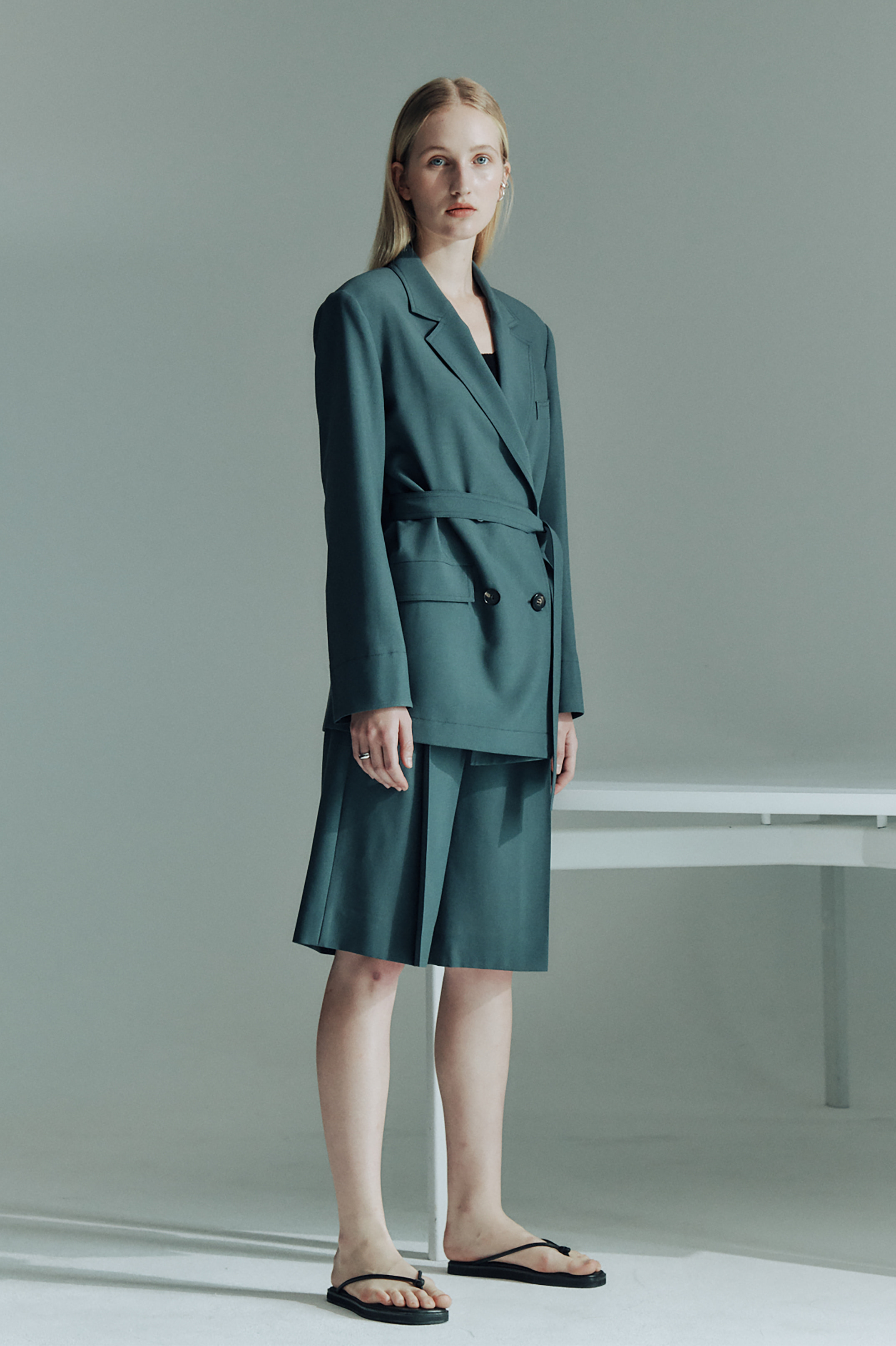 WOOL BELTED DOUBLE JACKET_BLUE GREEN