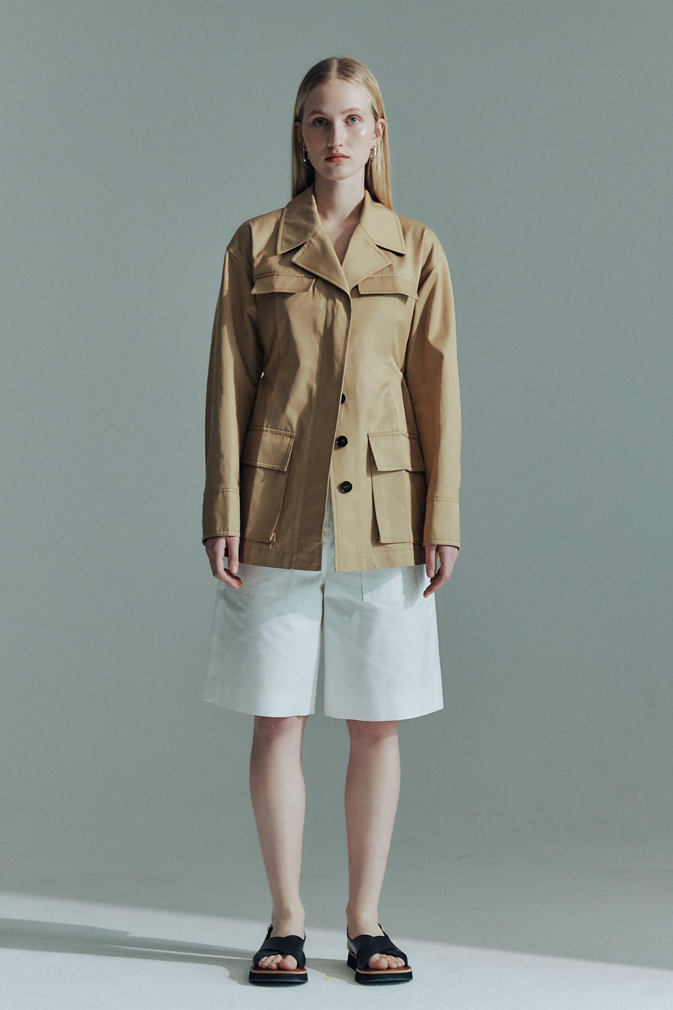 COTTON STRAP FIELD JACKET_BEIGE