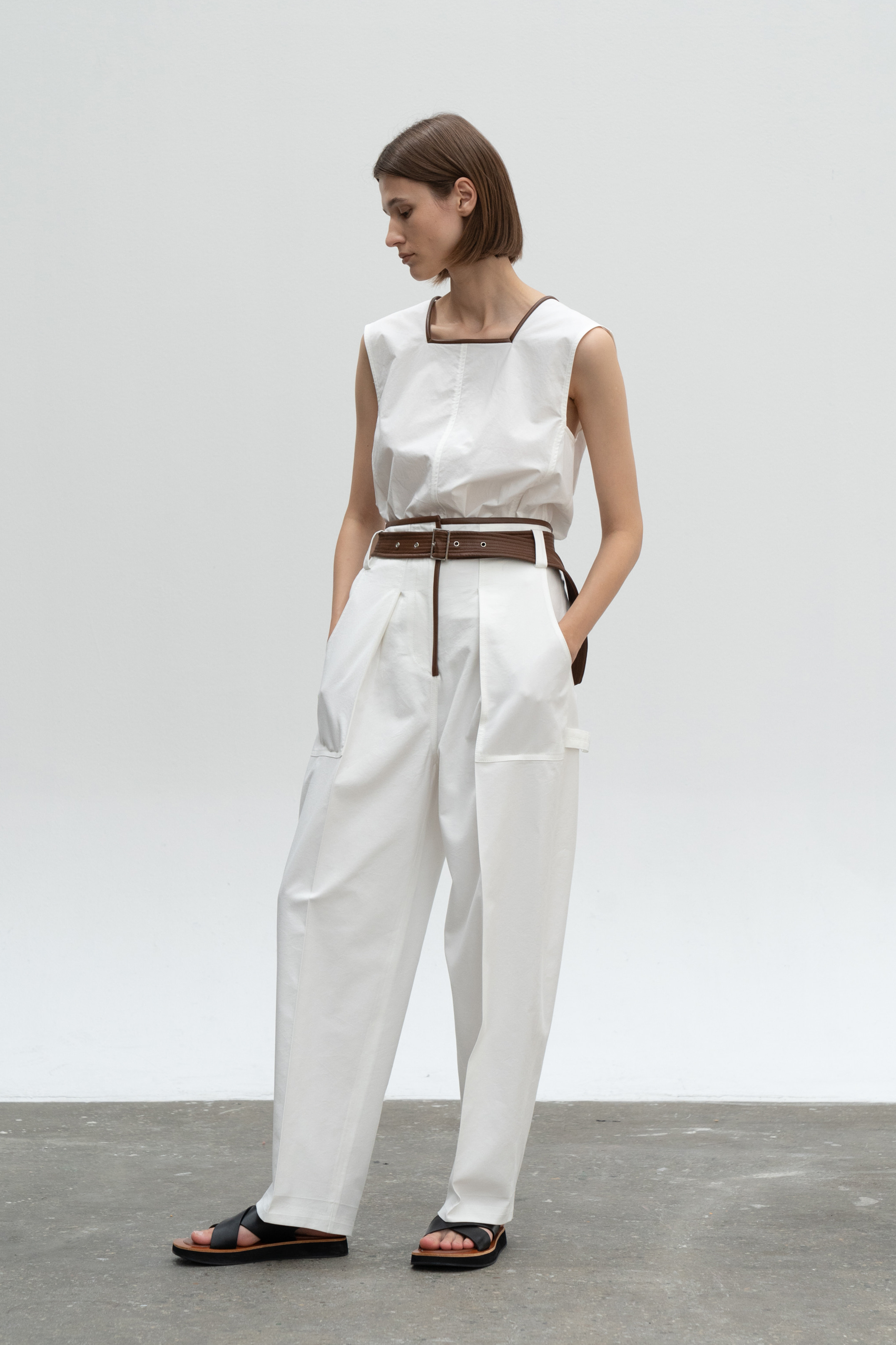 LEATHER COMBI VOLUME POCKET PANTS_IVORY